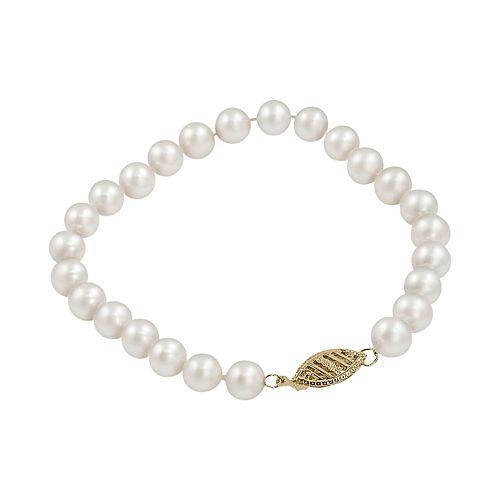 10k Gold Freshwater Cultured Pearl Bracelet - 7-in.