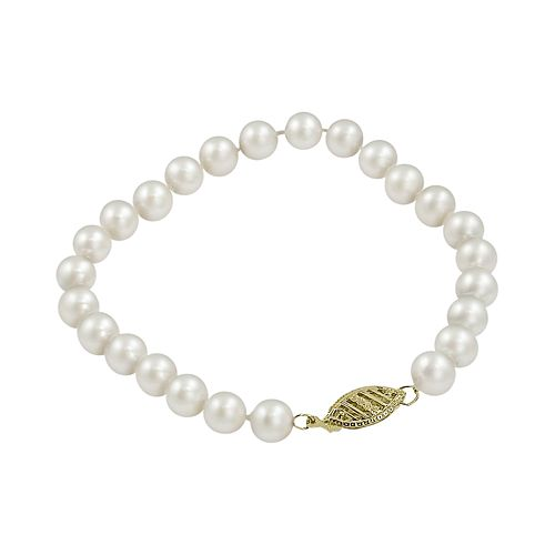 10k Gold Freshwater Cultured Pearl Bracelet - 8-in.