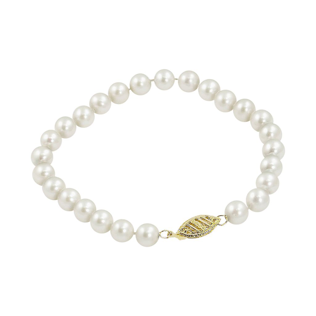 10k Gold Freshwater Cultured Pearl Bracelet - 6-in.