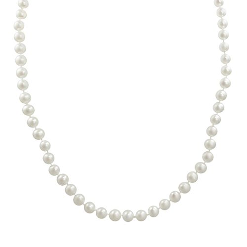 """10k Gold Freshwater Cultured Pearl Necklace - 30"""""""