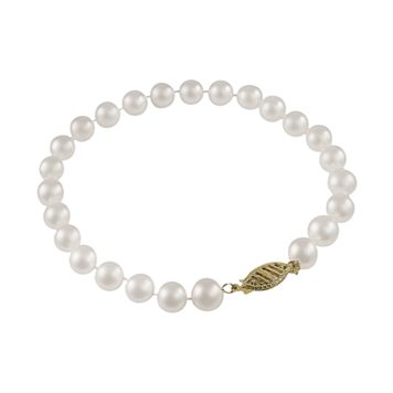 10k Gold Freshwater Cultured Pearl Bracelet - 7.5-in.