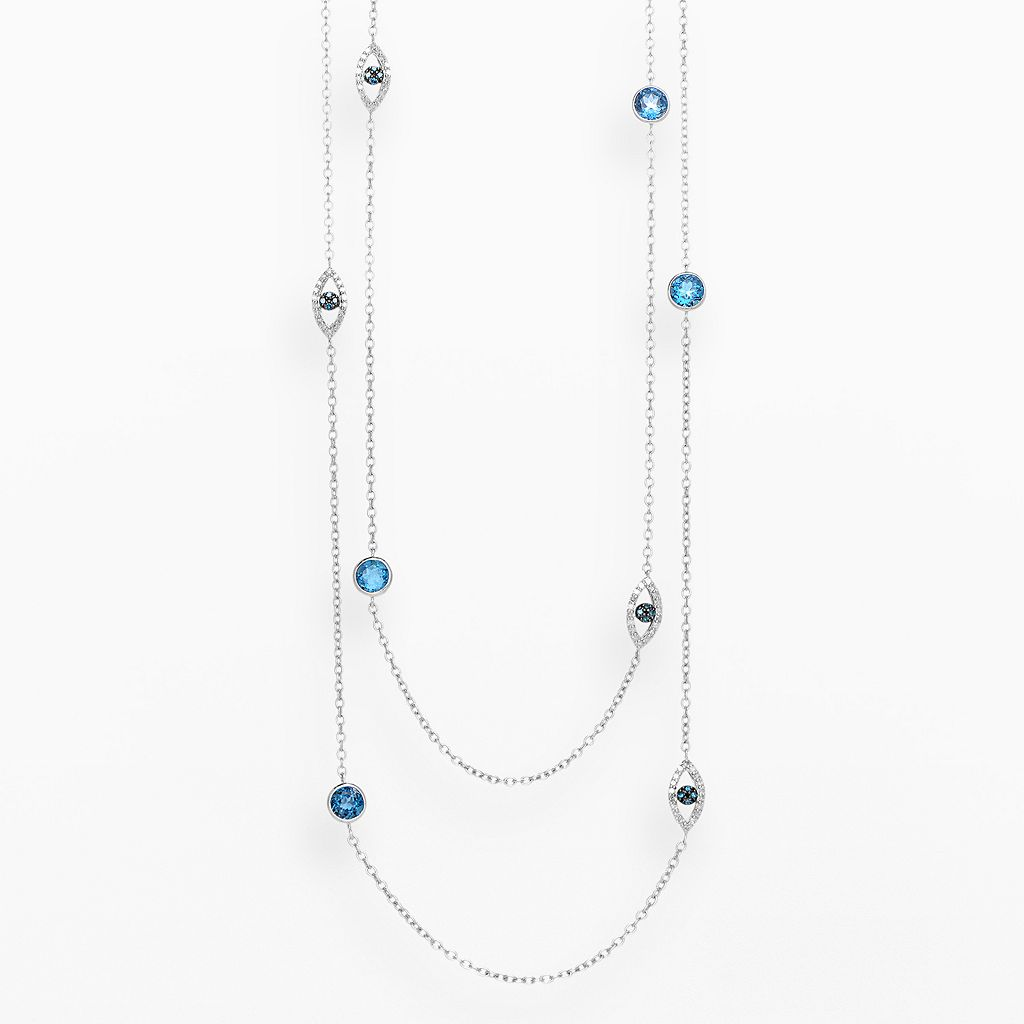 Sterling Silver 1/10-ct. T.W. Blue & White Diamond & Blue Topaz Long Station Necklace