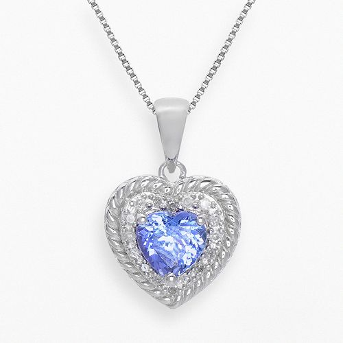 Sterling Silver Tanzanite & 1/10-ct. T.W. Diamond Heart Pendant