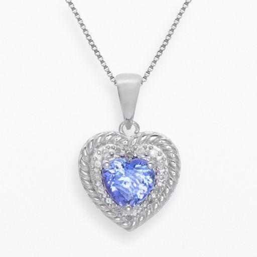 Sterling Silver Tanzanite and 1/10-ct. T.W. Diamond Heart Pendant