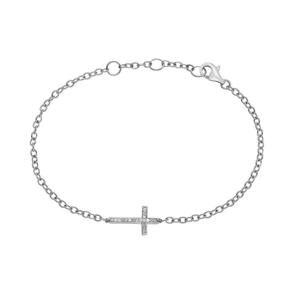 T W Diamond Sideways Cross Bracelet