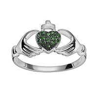 Sterling Silver 1/10 ctT.W. Green Diamond Claddagh Ring
