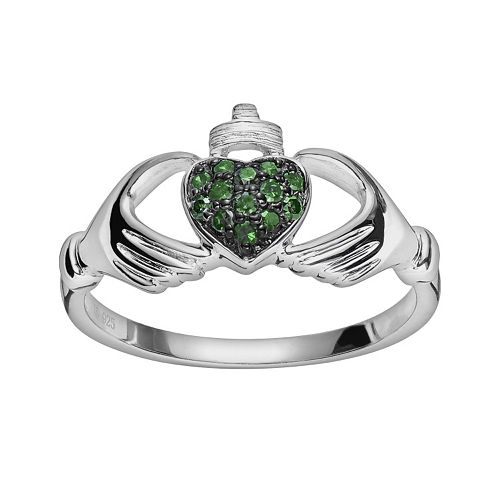 Sterling Silver 1/10-ct. T.W. Green Diamond Claddagh Ring