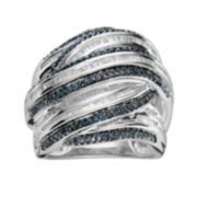 Sterling Silver 1-ct. T.W. Blue & White Diamond Crisscross Ring