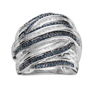 Sterling Silver 1-ct. T.W. Blue and White Diamond Crisscross Ring