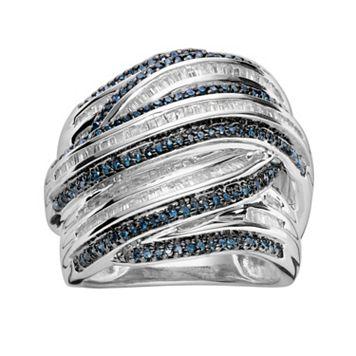 Sterling Silver 1-ct. T.W. Blue & White Diamond Crisscross Ring