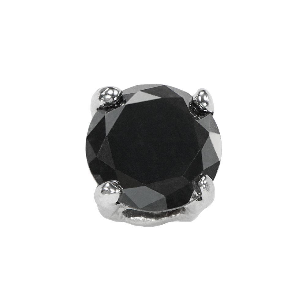 Stainless Steel 1/4 Carat T.W. Black Diamond Stud - Single Earring