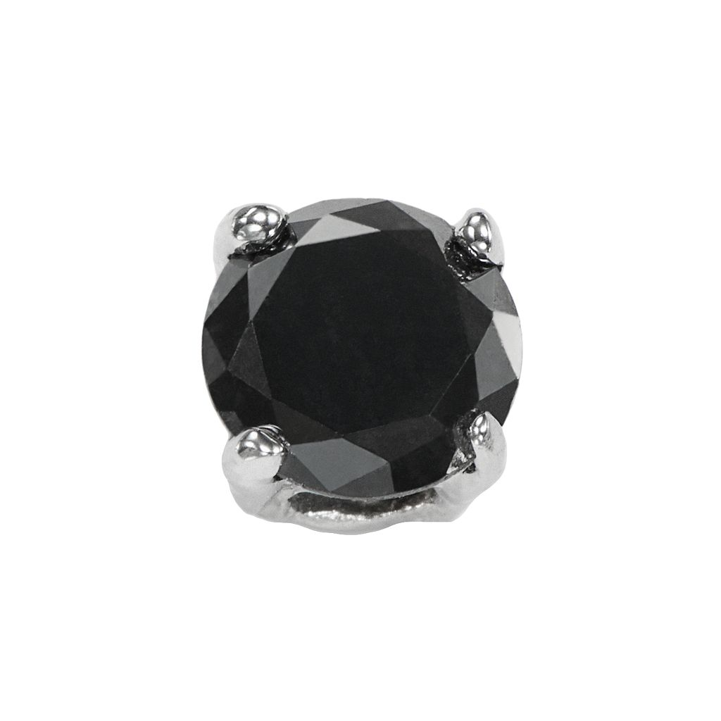 Stainless Steel 1/4 Carat T.W. Black Diamond Stud - Single Earring