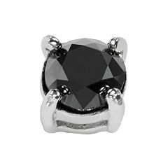 Stainless Steel 1/2 ctT.W. Black Diamond Stud Earring