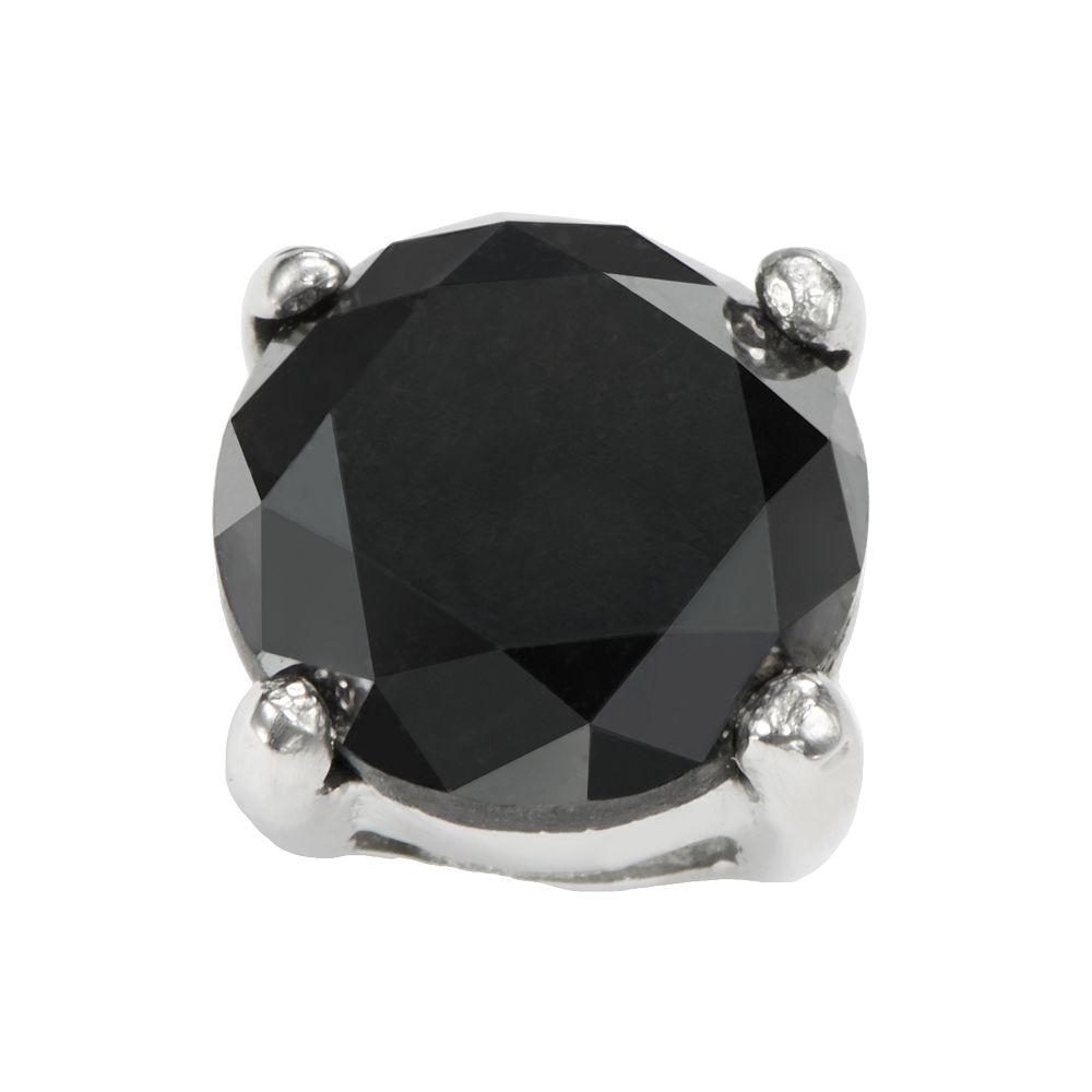 Stainless Steel 1-ct. T.W. Black Diamond Stud Earring