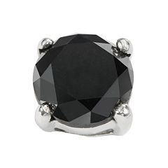Stainless Steel 1 ctT.W. Black Diamond Stud Earring
