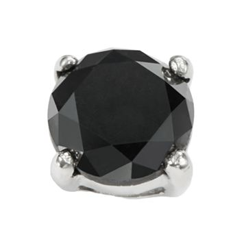 Stainless Steel 1-ct. T.W. Black Diamond Stud Earring
