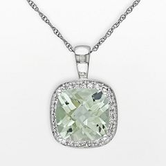 10k White Gold Green Quartz & 1/10 ctT.W. Diamond Halo Pendant