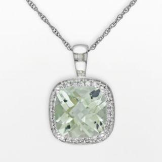 Stella Grace 10k White Gold Green Quartz and 1/10-ct. T.W. Diamond Halo Pendant