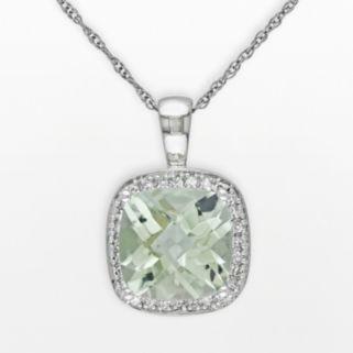 10k White Gold Green Quartz and 1/10-ct. T.W. Diamond Halo Pendant