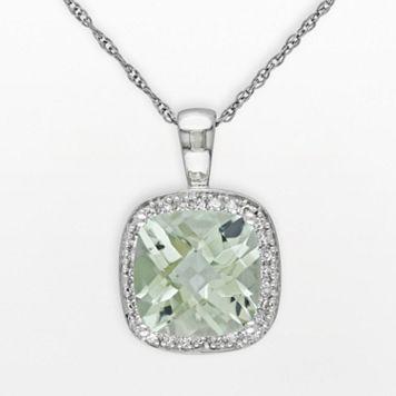 10k White Gold Green Quartz & 1/10-ct. T.W. Diamond Halo Pendant