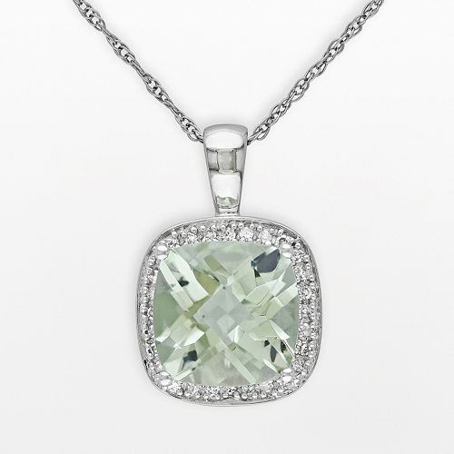 10k White Gold Green Quartz & 1/10-ct. T.W. Diamond Halo Pendant