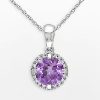 Stella Grace 10k White Gold Amethyst and Diamond Accent Frame Pendant