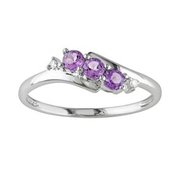 10k White Gold Amethyst & Diamond Accent 3-Stone Bypass Ring