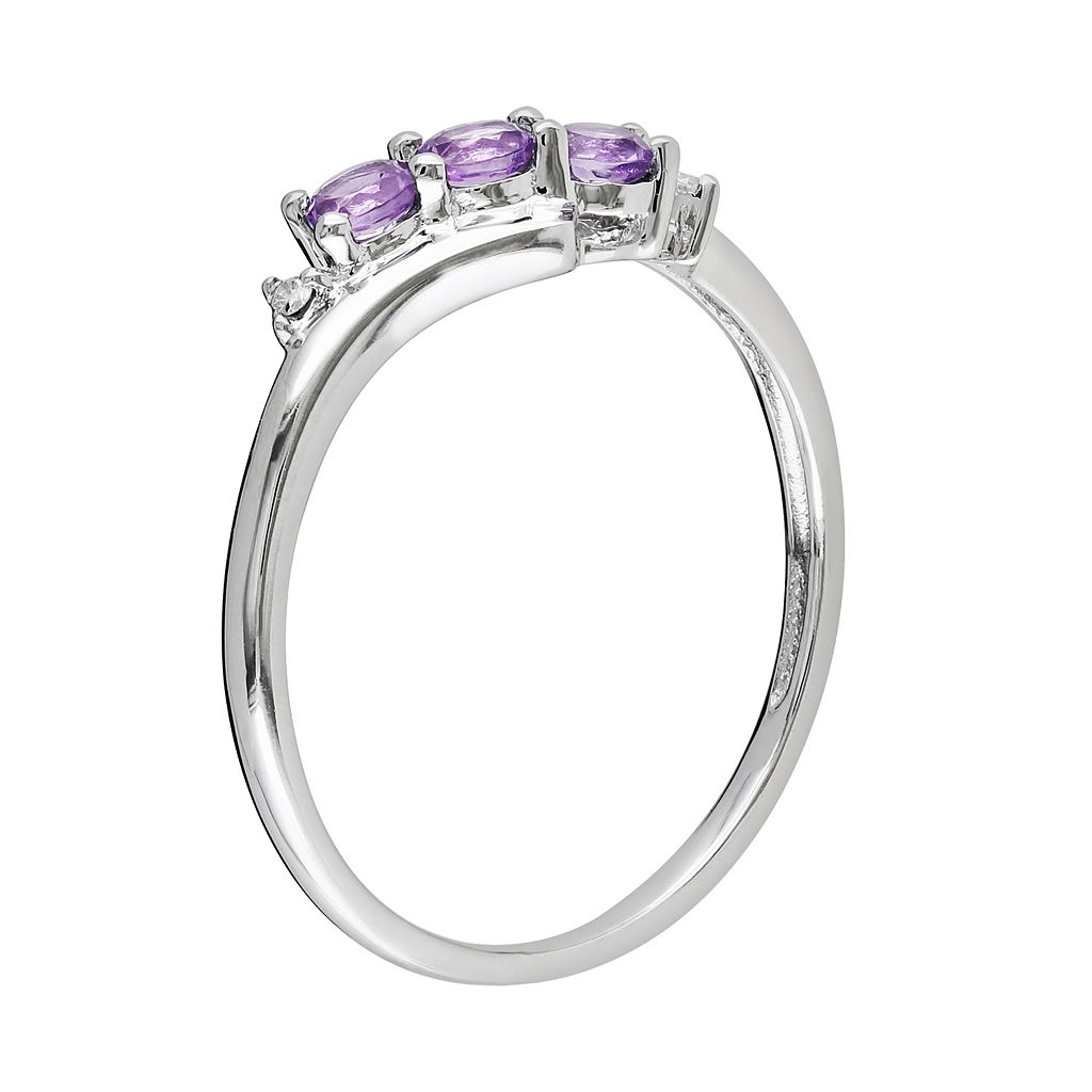 10k White Gold Amethyst and Diamond Accent 3-Stone Bypass Ring