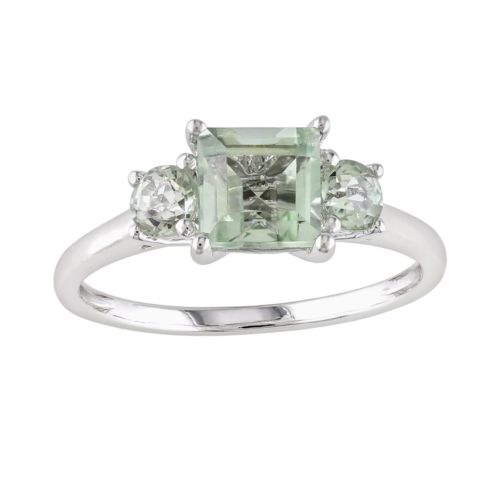 10k White Gold Green Quartz and Diamond Accent 3-Stone Ring