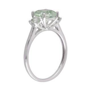 10k White Gold Green Quartz and Diamond Accent 3-Stone Ring
