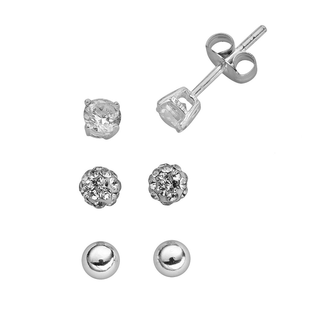 Sterling Silver Cubic Zirconia & Crystal Stud Earring Set