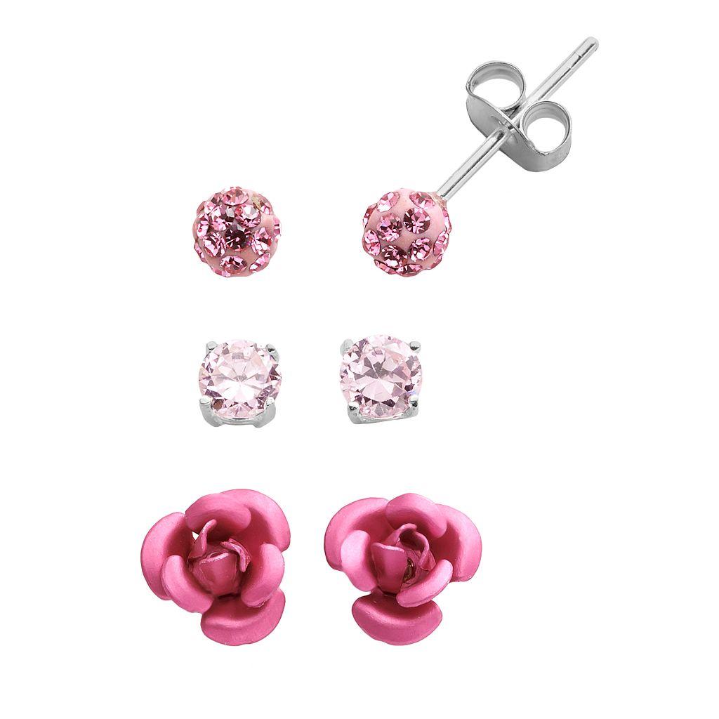 Sterling Silver Cubic Zirconia & Crystal Flower Stud Earring Set