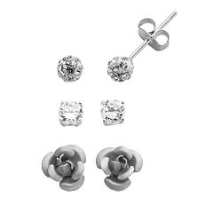 Sterling Silver Cubic Zirconia & Crystal Flower Stud Earring Set