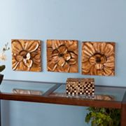 3 pc Magnolia Metal Wall Decor Panel Set