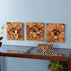 3 pc Magnolia Metal Wall Decor Panel Set
