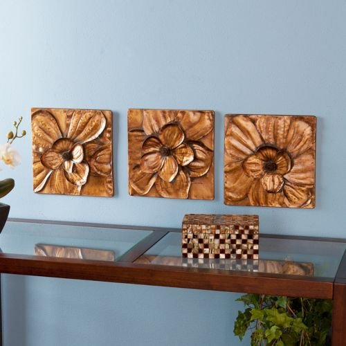 3-pc. Magnolia Metal Wall Decor Panel Set