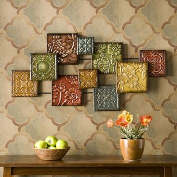 Floral Square Metal Wall Decor