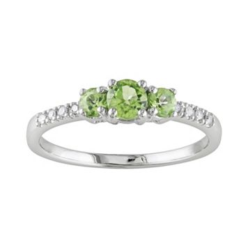 10k White Gold Peridot & Diamond Accent 3-Stone Ring
