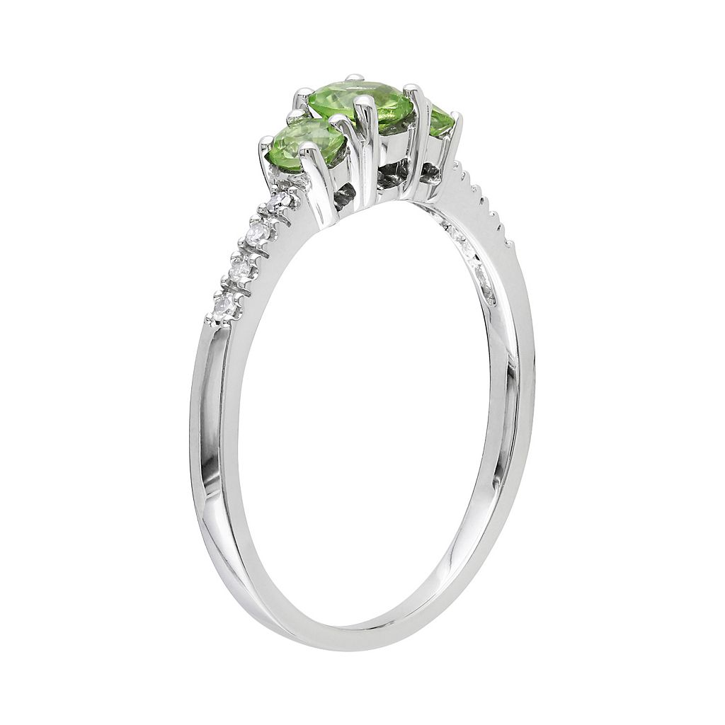 10k White Gold Peridot and Diamond Accent 3-Stone Ring