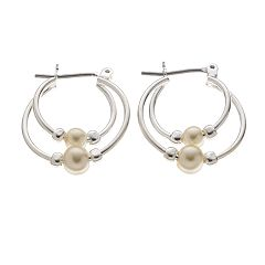 Simulated Pearl Double-Hoop Earrings