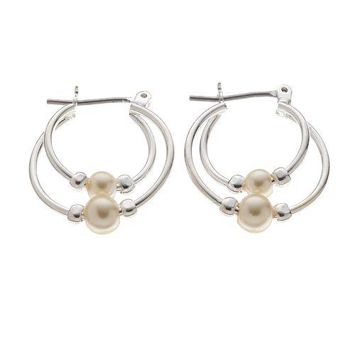 Simulated Pearl Double-Hoop Earrings