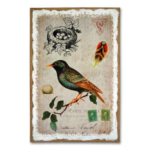 Sparrow Burlap Wall Art