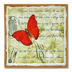 'Red Butterfly' Burlap Wall Art