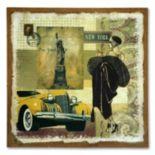 """Yellow Auto"" Burlap Wall Art"