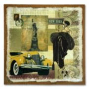 """Yellow Auto"" Burlap Wall Art"