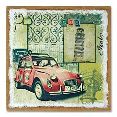 'Red Auto' Burlap Wall Art