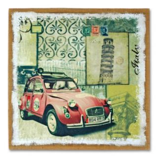 Red Auto Burlap Wall Art