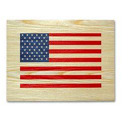 'American Flag' Wood Veneer Wall Art