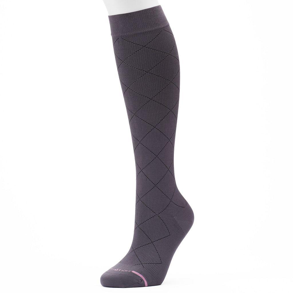 Women's Dr. Motion Knee-High Argyle Compression Socks