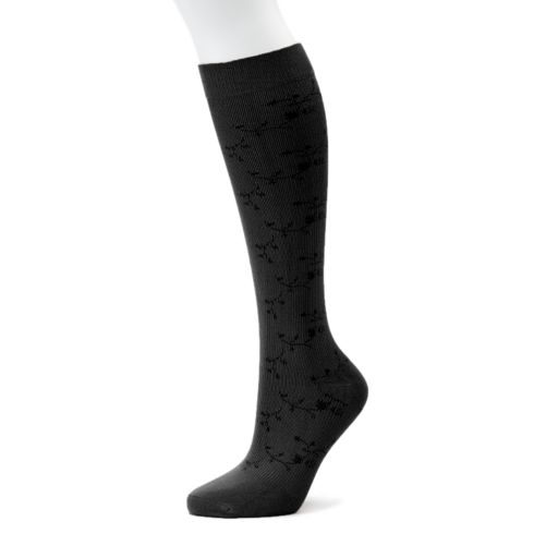 Women's Dr. Motion Knee-High Floral Compression Socks